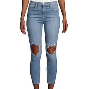 Free People Classic Distressed Jeans Light Wash